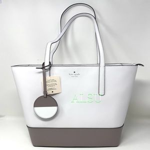 Kate ♠️ Spade Briel Large Tote Leather White Grey